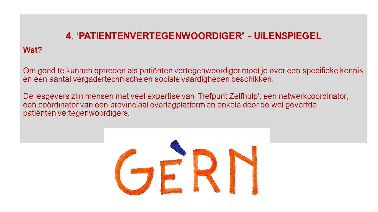 4. 'PATIENTENVERTEGENWOORDIGER' - UILENSPIEGEL Wat.