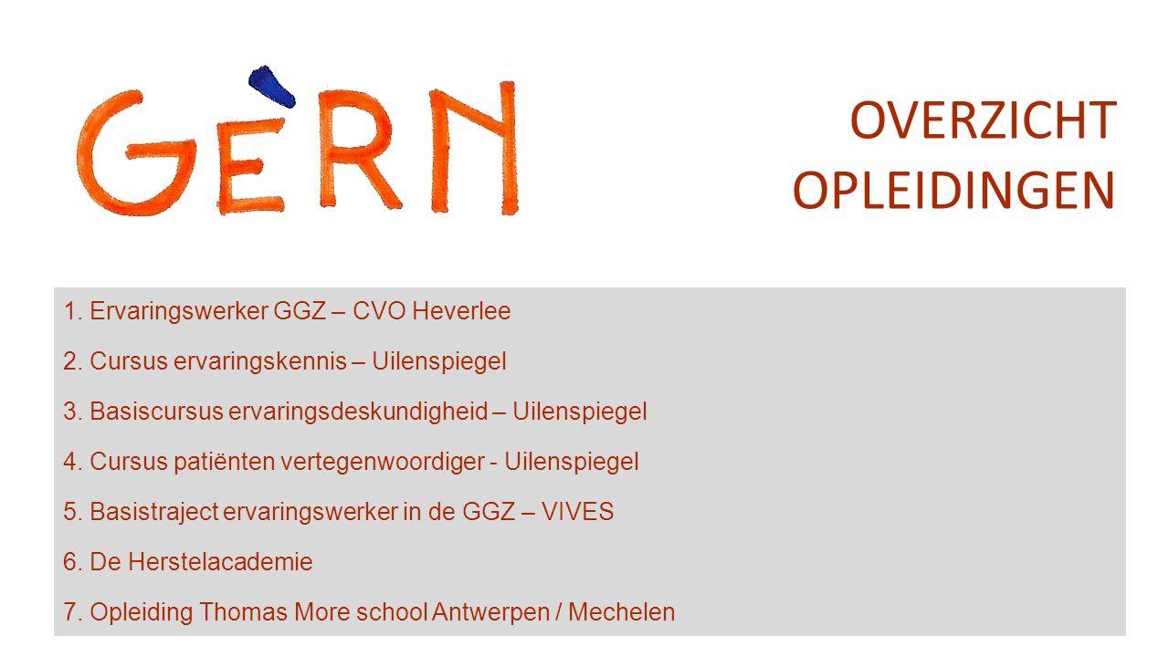 1. Ervaringswerker GGZ – CVO Heverlee 2. Cursus ervaringskennis – Uilenspiegel 3.