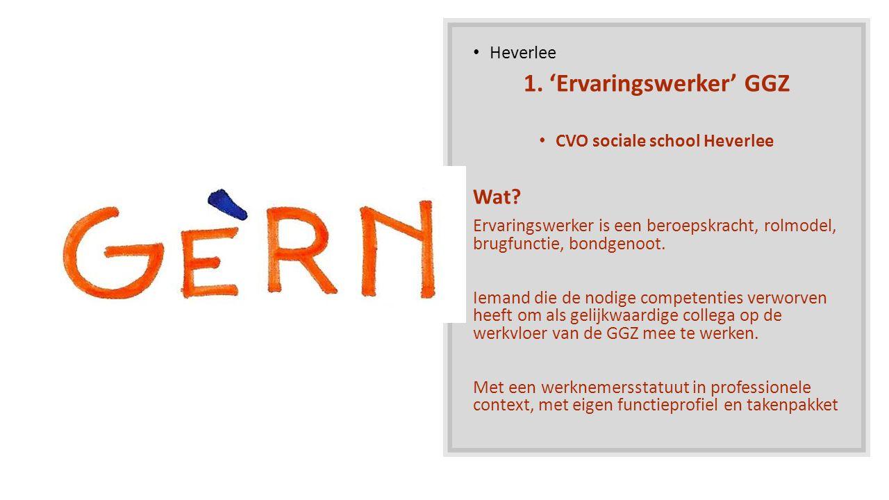 Heverlee 1. 'Ervaringswerker' GGZ CVO sociale school Heverlee Wat? Ervaringswerker is een beroepskracht, rolmodel, brugfunctie, bondgenoot. Iemand die