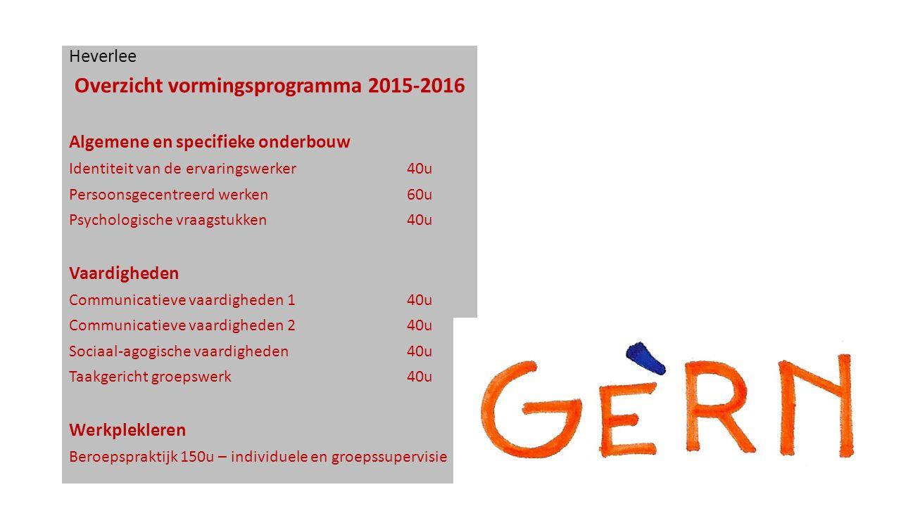 Heverlee Overzicht vormingsprogramma 2015-2016 Algemene en specifieke onderbouw Identiteit van de ervaringswerker40u Persoonsgecentreerd werken60u Psy