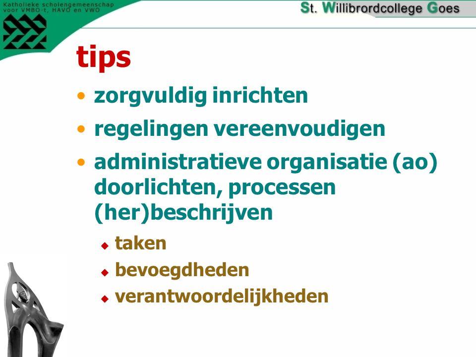 tips zorgvuldig inrichten regelingen vereenvoudigen administratieve organisatie (ao) doorlichten, processen (her)beschrijven  taken  bevoegdheden  verantwoordelijkheden