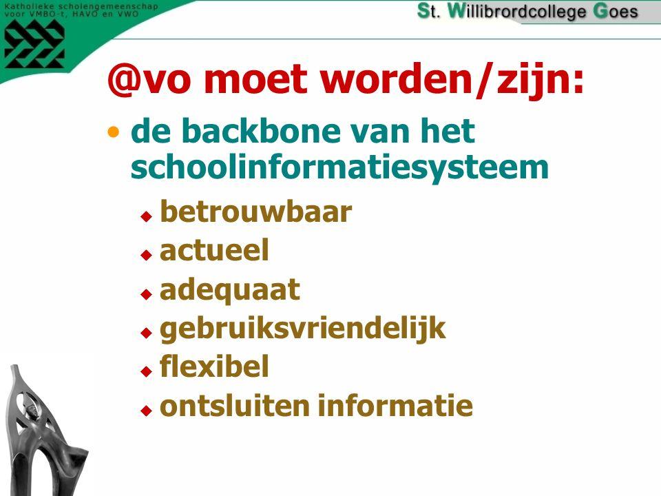 @vo moet worden/zijn: de backbone van het schoolinformatiesysteem  betrouwbaar  actueel  adequaat  gebruiksvriendelijk  flexibel  ontsluiten informatie