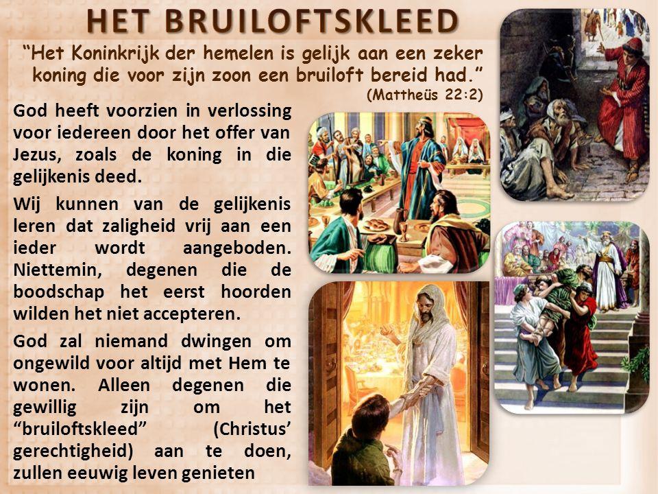 """""""Het Koninkrijk der hemelen is gelijk aan een zeker koning die voor zijn zoon een bruiloft bereid had."""" (Mattheüs 22:2) God heeft voorzien in verlossi"""