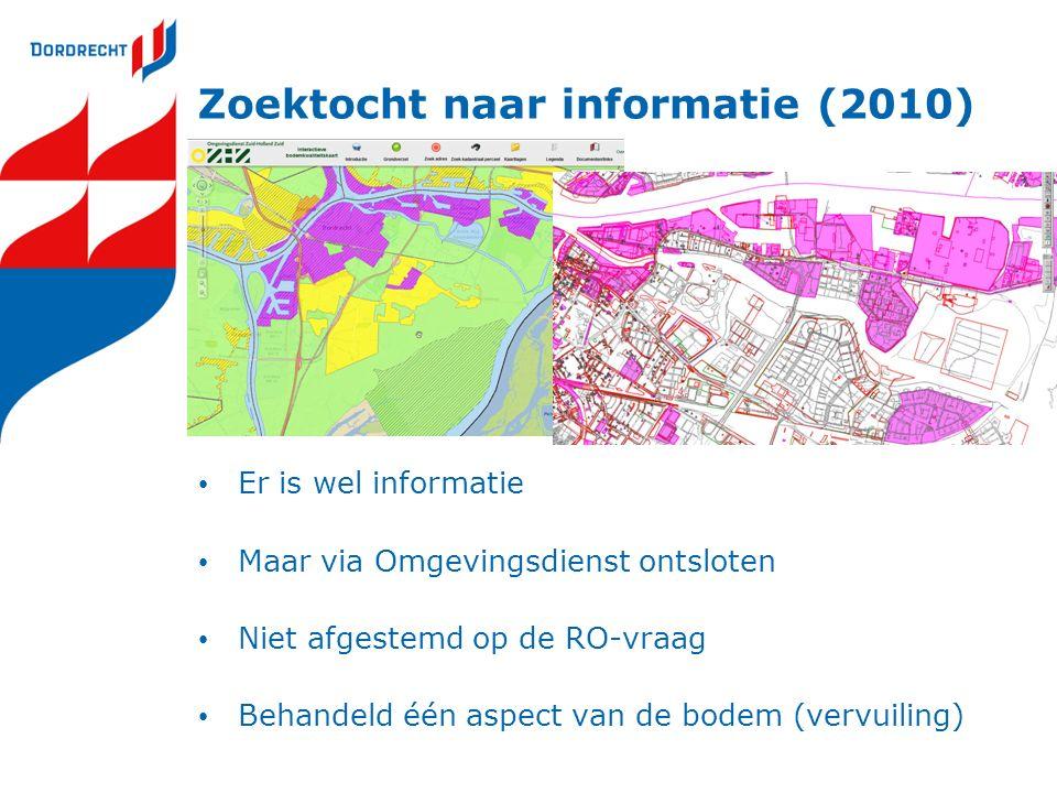 Zoektocht naar informatie (2010) Er is wel informatie Maar via Omgevingsdienst ontsloten Niet afgestemd op de RO-vraag Behandeld één aspect van de bodem (vervuiling)
