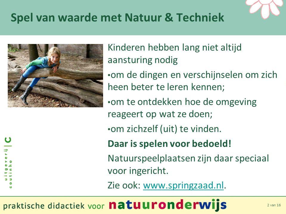 2 van 16 Spel van waarde met Natuur & Techniek Kinderen hebben lang niet altijd aansturing nodig om de dingen en verschijnselen om zich heen beter te leren kennen; om te ontdekken hoe de omgeving reageert op wat ze doen; om zichzelf (uit) te vinden.