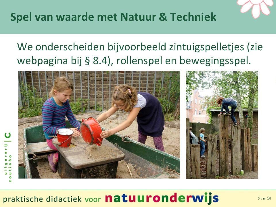 3 van 16 Spel van waarde met Natuur & Techniek We onderscheiden bijvoorbeeld zintuigspelletjes (zie webpagina bij § 8.4), rollenspel en bewegingsspel.