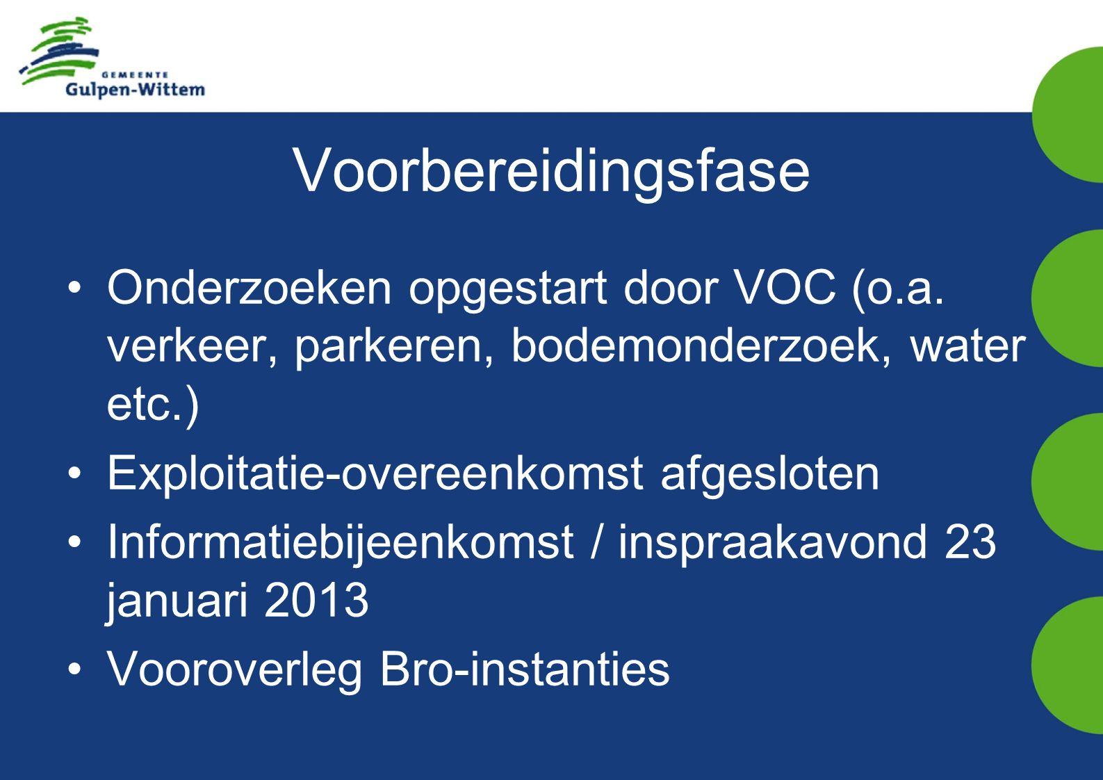 Voorbereidingsfase Onderzoeken opgestart door VOC (o.a.