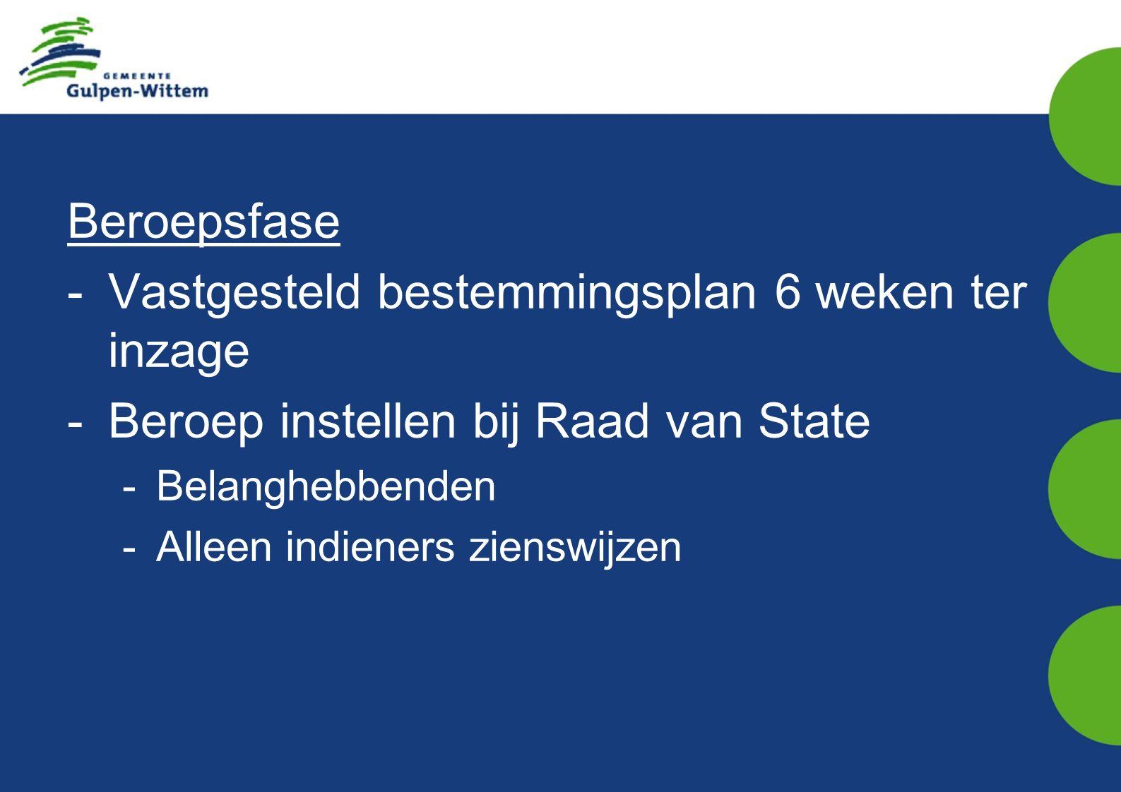 Beroepsfase -Vastgesteld bestemmingsplan 6 weken ter inzage -Beroep instellen bij Raad van State -Belanghebbenden -Alleen indieners zienswijzen