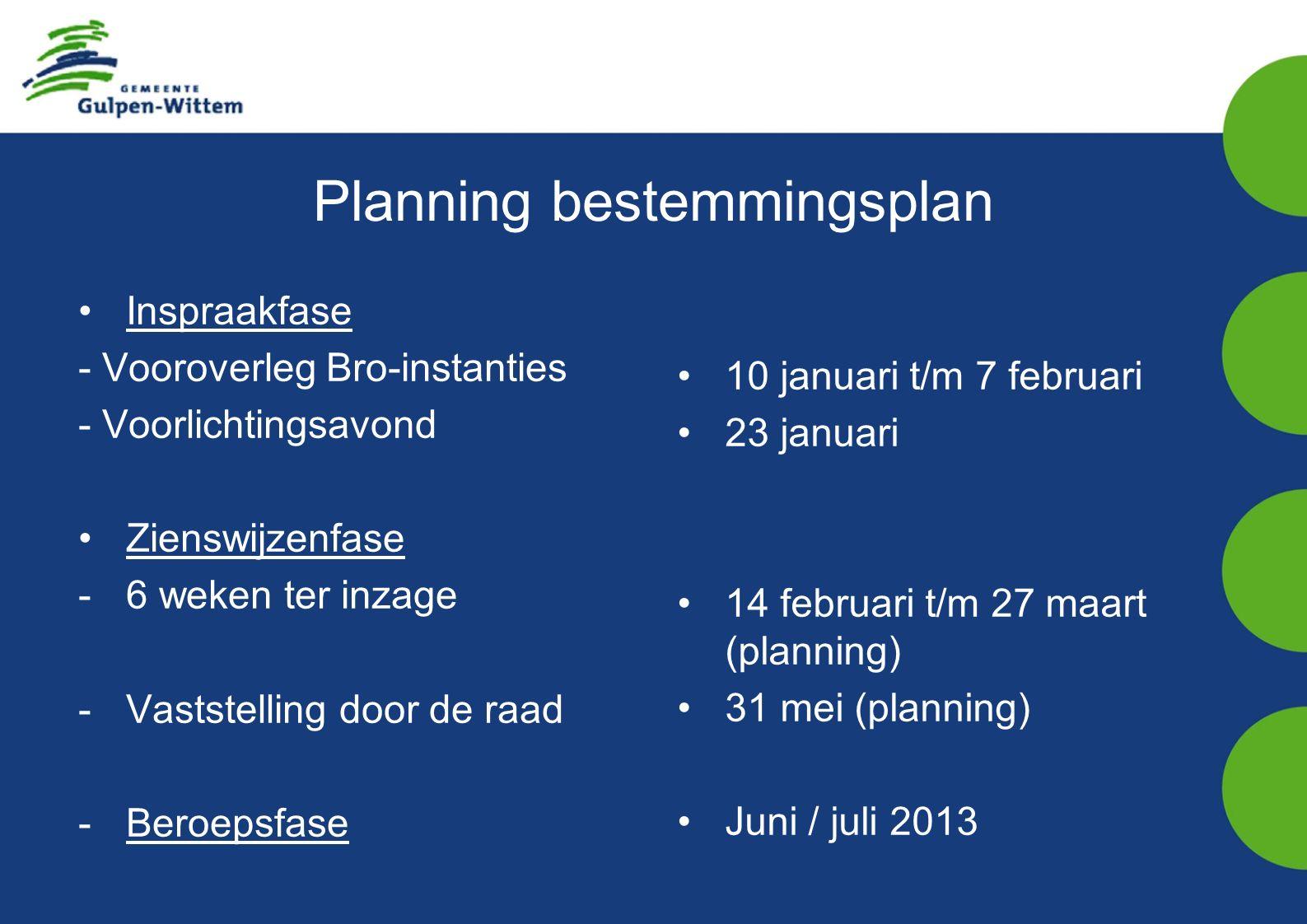 Planning bestemmingsplan Inspraakfase - Vooroverleg Bro-instanties - Voorlichtingsavond Zienswijzenfase -6 weken ter inzage -Vaststelling door de raad -Beroepsfase 10 januari t/m 7 februari 23 januari 14 februari t/m 27 maart (planning) 31 mei (planning) Juni / juli 2013