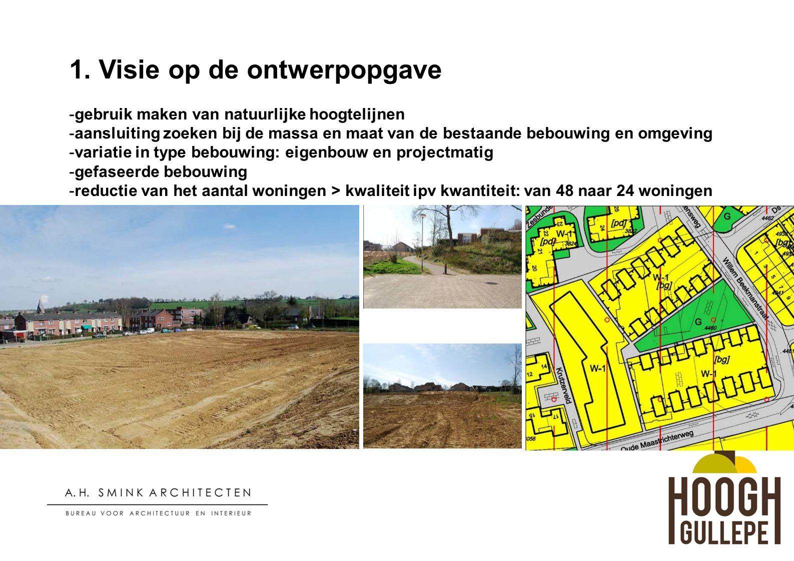1. Visie op de ontwerpopgave -gebruik maken van natuurlijke hoogtelijnen -aansluiting zoeken bij de massa en maat van de bestaande bebouwing en omgevi