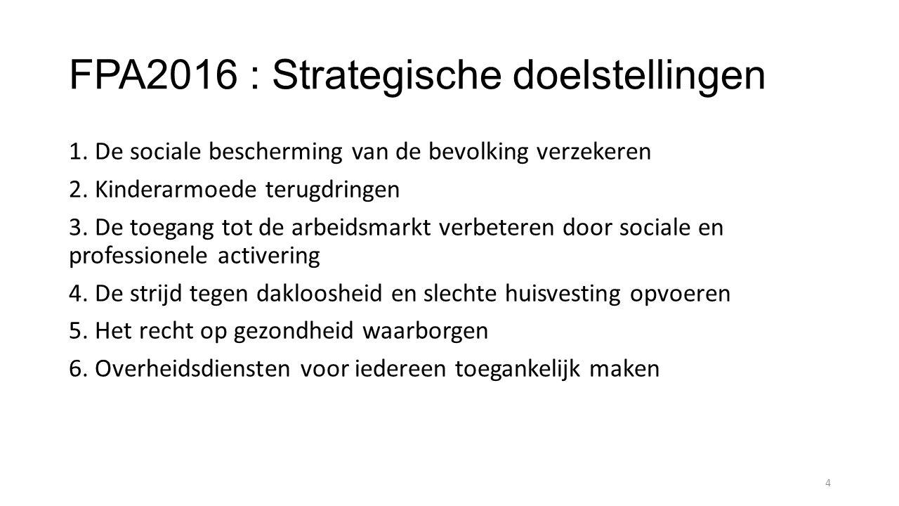 FPA2016 : Strategische doelstellingen 1. De sociale bescherming van de bevolking verzekeren 2. Kinderarmoede terugdringen 3. De toegang tot de arbeids