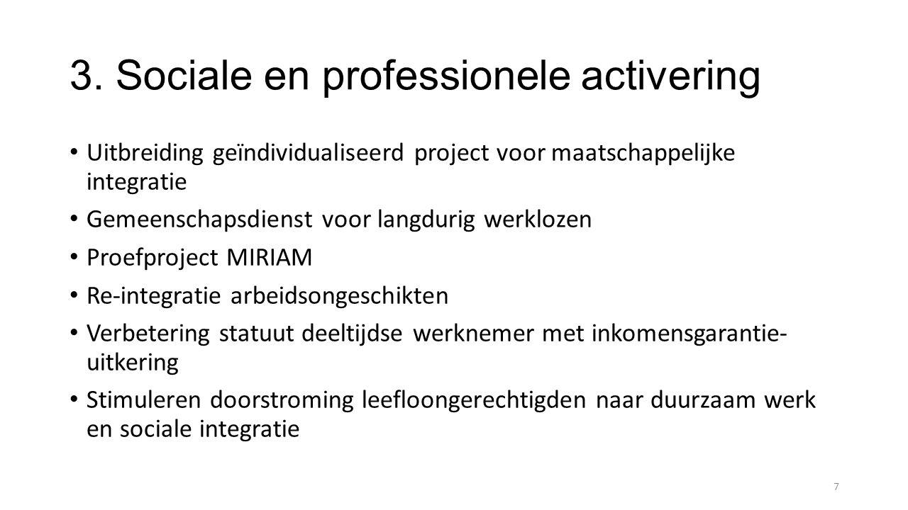 3. Sociale en professionele activering Uitbreiding geïndividualiseerd project voor maatschappelijke integratie Gemeenschapsdienst voor langdurig werkl