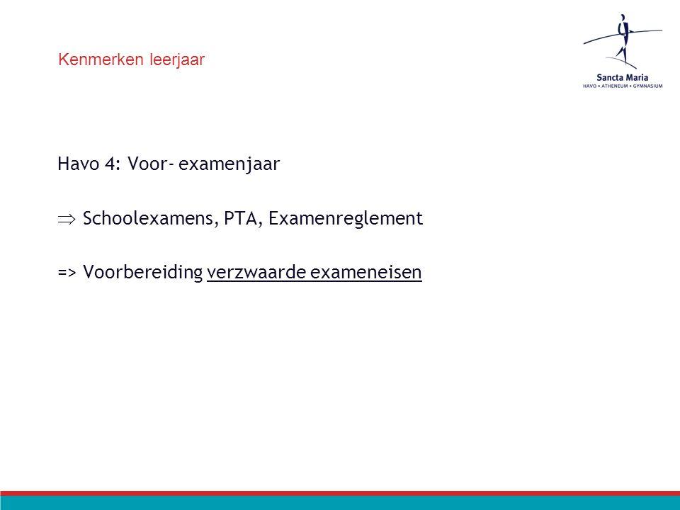 Kenmerken leerjaar Havo 4: Voor- examenjaar  Schoolexamens, PTA, Examenreglement => Voorbereiding verzwaarde exameneisen