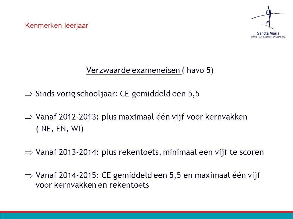Kenmerken leerjaar Verzwaarde exameneisen ( havo 5)  Sinds vorig schooljaar: CE gemiddeld een 5,5  Vanaf 2012-2013: plus maximaal één vijf voor kernvakken ( NE, EN, WI)  Vanaf 2013-2014: plus rekentoets, minimaal een vijf te scoren  Vanaf 2014-2015: CE gemiddeld een 5,5 en maximaal één vijf voor kernvakken en rekentoets