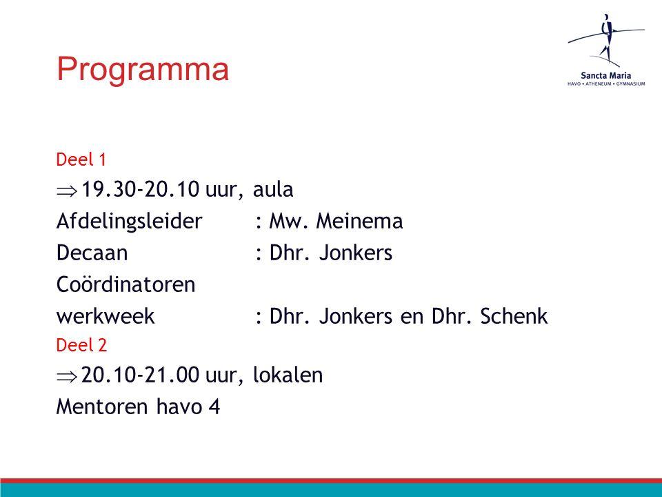 Programma Deel 1  19.30-20.10 uur, aula Afdelingsleider: Mw. Meinema Decaan: Dhr. Jonkers Coördinatoren werkweek: Dhr. Jonkers en Dhr. Schenk Deel 2