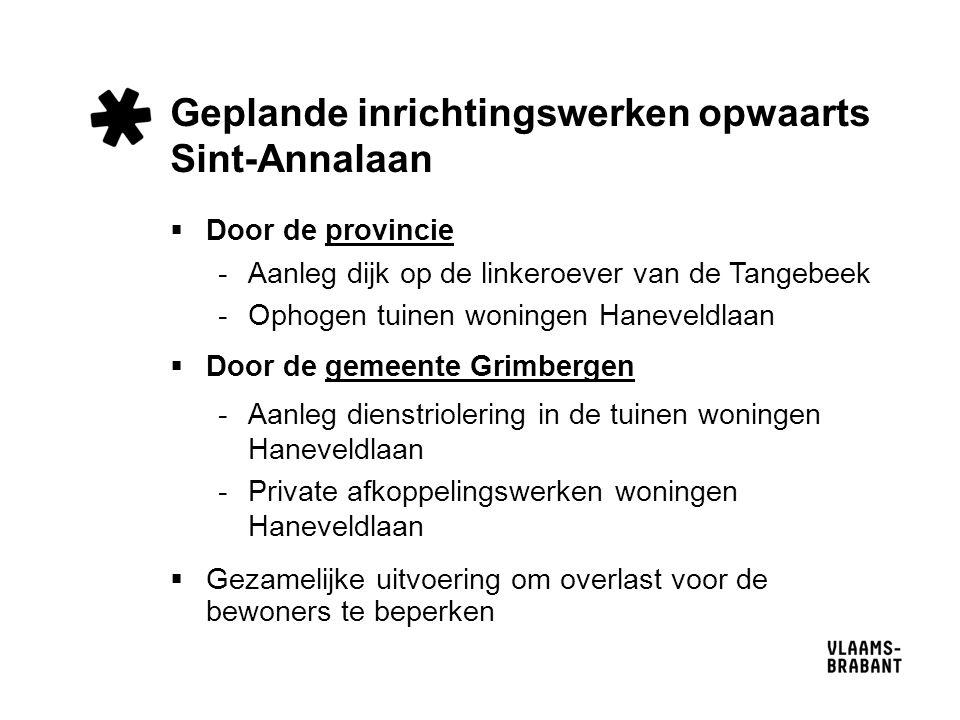 Geplande inrichtingswerken opwaarts Sint-Annalaan  Door de provincie -Aanleg dijk op de linkeroever van de Tangebeek -Ophogen tuinen woningen Hanevel