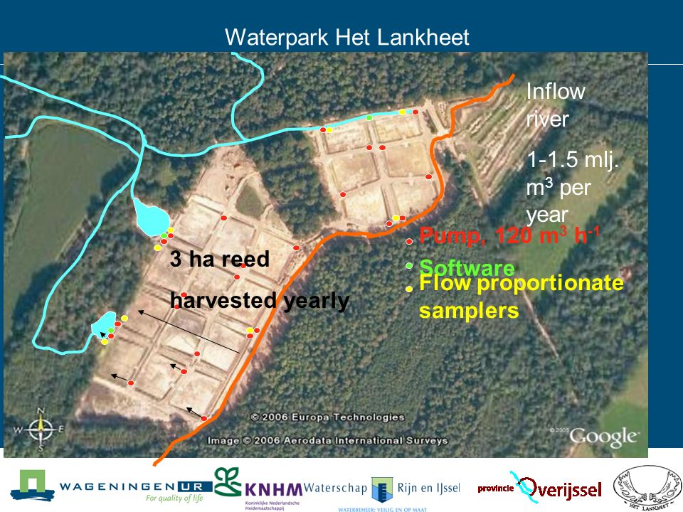 ontwerp: P.H.Vereijken Waterpark Het Lankheet Pump, 120 m 3 h -1 Software Flow proportionate samplers Inflow river 1-1.5 mlj.