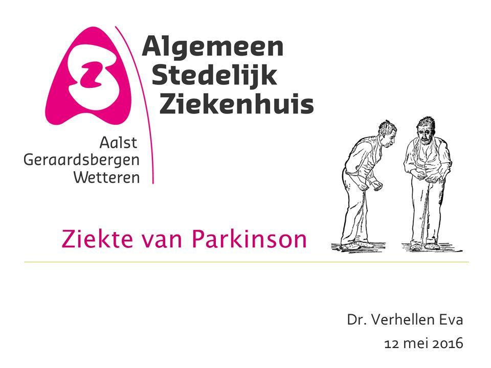 Parkinson plus syndromen  Multisysteem atrofie (MSA) o MSA-p (parkinsonisme type) +Parkinsonisme +Autonome symptomen o MSA-c (cerebellaire type) +Cerebellaire symptomen : ataxie, coördinatie, dysphagie, dysarthrie o Anterocollis, stridor, contracturen, Pisa syndroom o Snellere progressie  Progressieve supranucleaire paralyse (PSP) o Vertikale, later horizontale blikparese, starre blik o Spraak- en slikstoornissen o Vallen 12