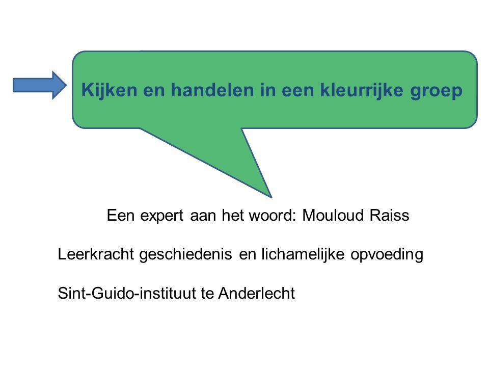 Een expert aan het woord: Mouloud Raiss Leerkracht geschiedenis en lichamelijke opvoeding Sint-Guido-instituut te Anderlecht Kijken en handelen in een kleurrijke groep