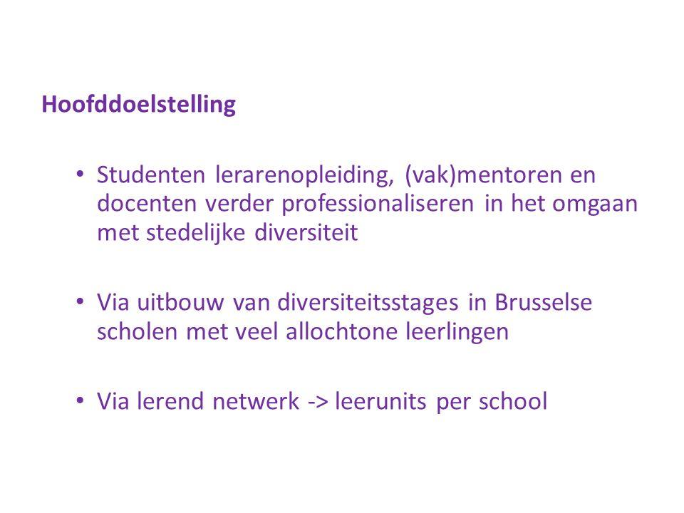Hoofddoelstelling Studenten lerarenopleiding, (vak)mentoren en docenten verder professionaliseren in het omgaan met stedelijke diversiteit Via uitbouw van diversiteitsstages in Brusselse scholen met veel allochtone leerlingen Via lerend netwerk -> leerunits per school