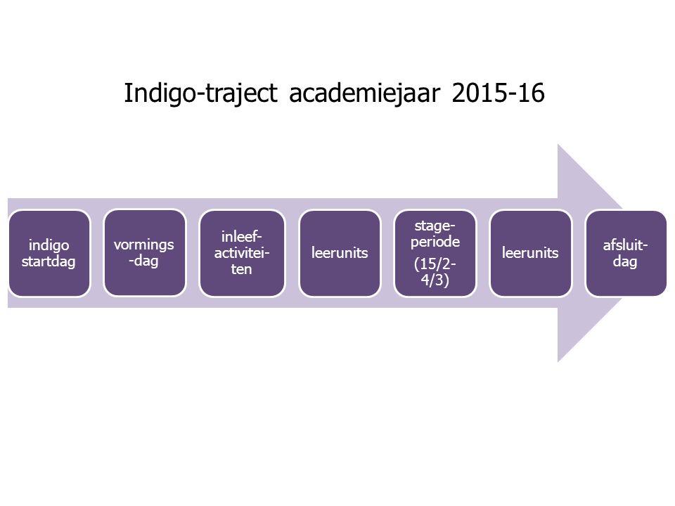 indigo startdag vormings -dag inleef- activitei- ten leerunits stage- periode (15/2- 4/3) leerunits afsluit- dag Indigo-traject academiejaar 2015-16
