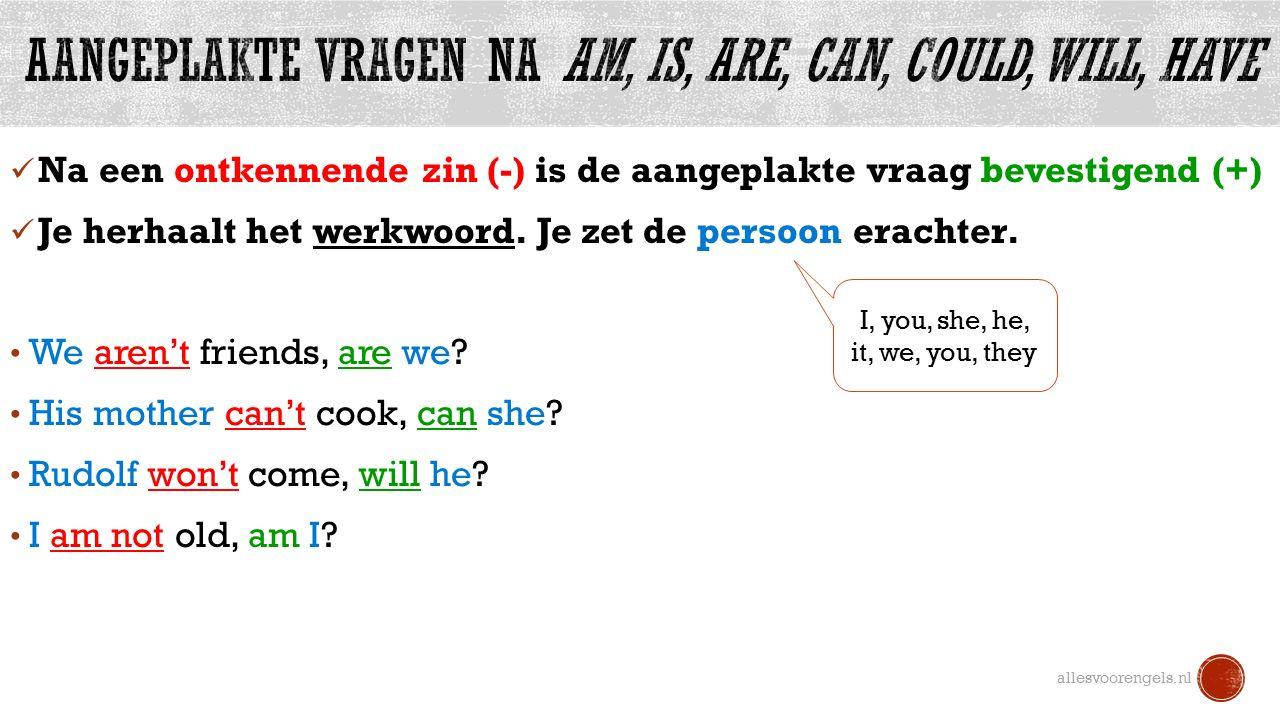 Na een ontkennende zin (-) is de aangeplakte vraag bevestigend (+) Je herhaalt het werkwoord.