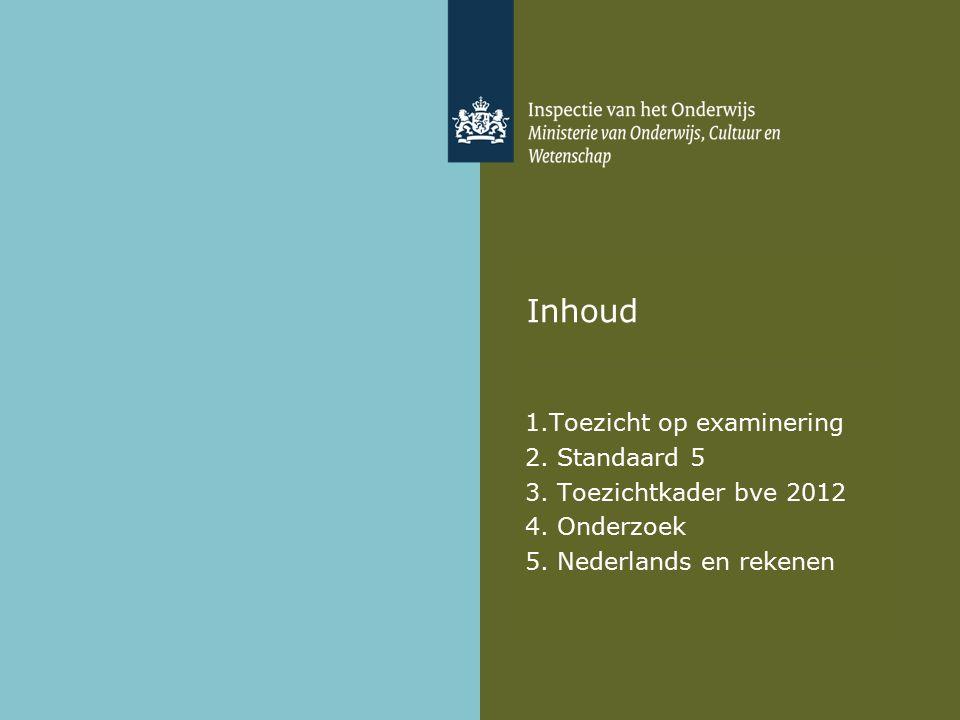 Inhoud 1.Toezicht op examinering 2. Standaard 5 3.