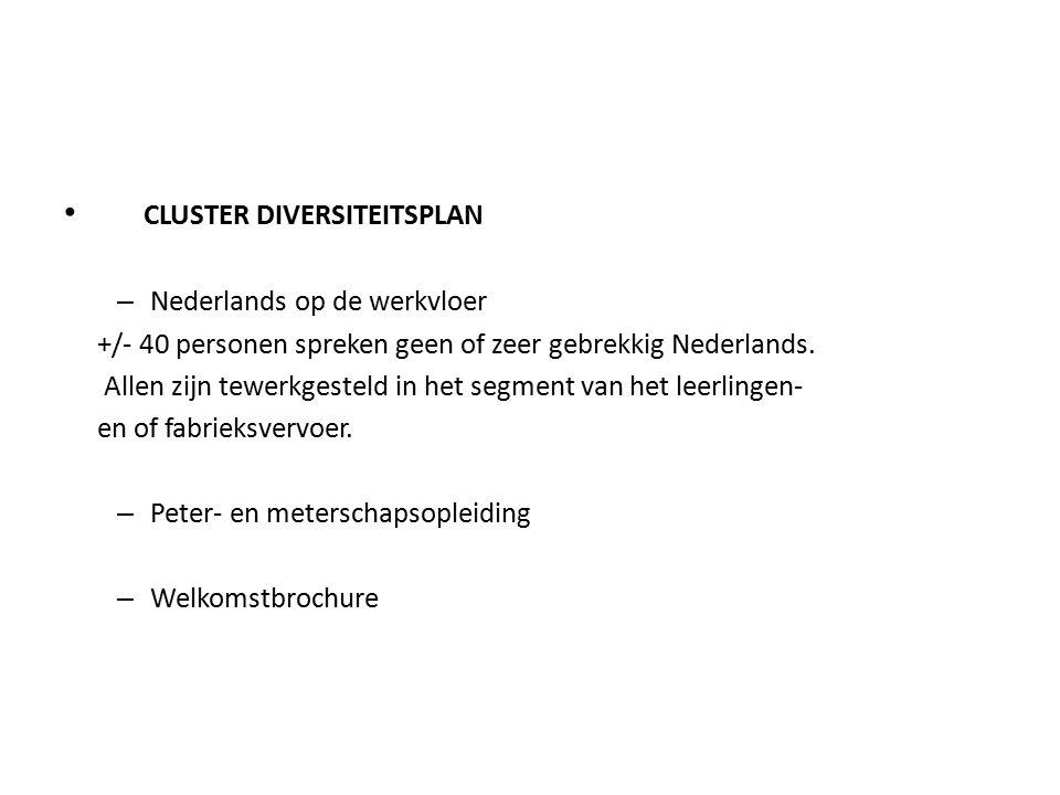 CLUSTER DIVERSITEITSPLAN – Nederlands op de werkvloer +/- 40 personen spreken geen of zeer gebrekkig Nederlands.