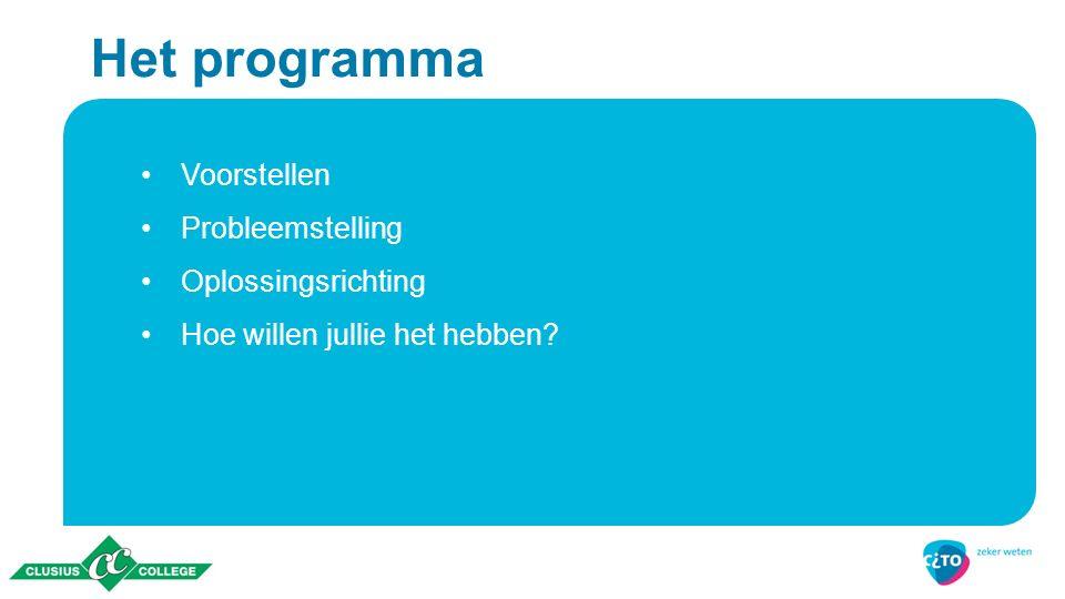 Het programma Voorstellen Probleemstelling Oplossingsrichting Hoe willen jullie het hebben?