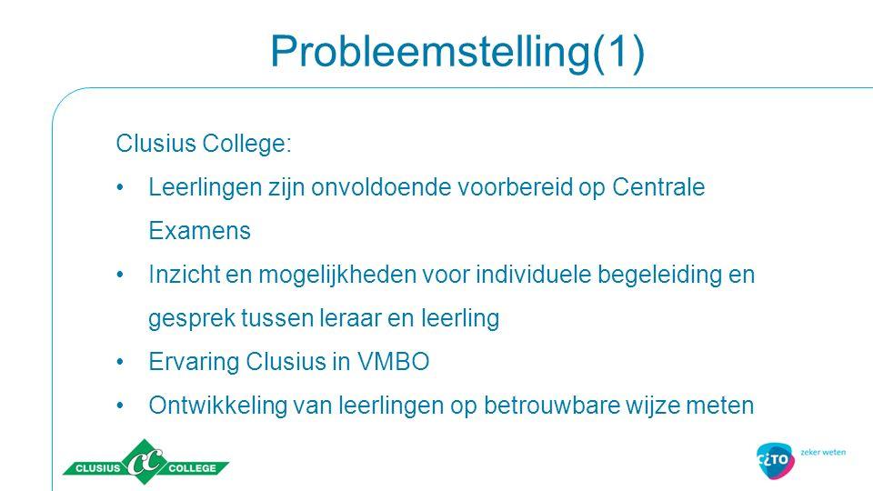 Probleemstelling(1) Clusius College: Leerlingen zijn onvoldoende voorbereid op Centrale Examens Inzicht en mogelijkheden voor individuele begeleiding