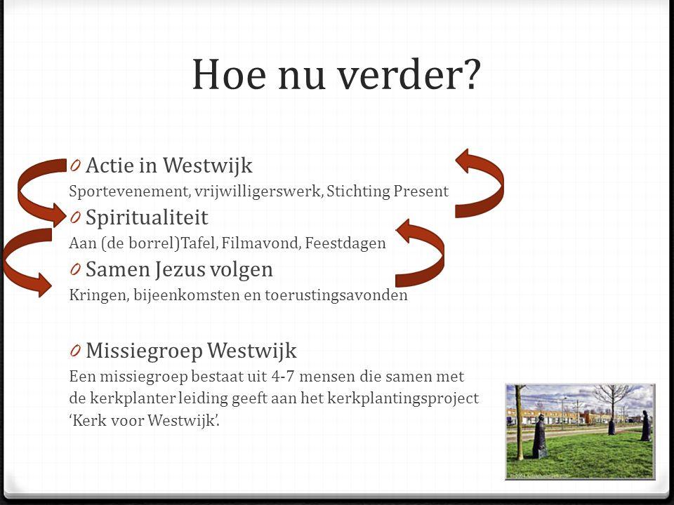 Hoe nu verder? 0 Actie in Westwijk Sportevenement, vrijwilligerswerk, Stichting Present 0 Spiritualiteit Aan (de borrel)Tafel, Filmavond, Feestdagen 0
