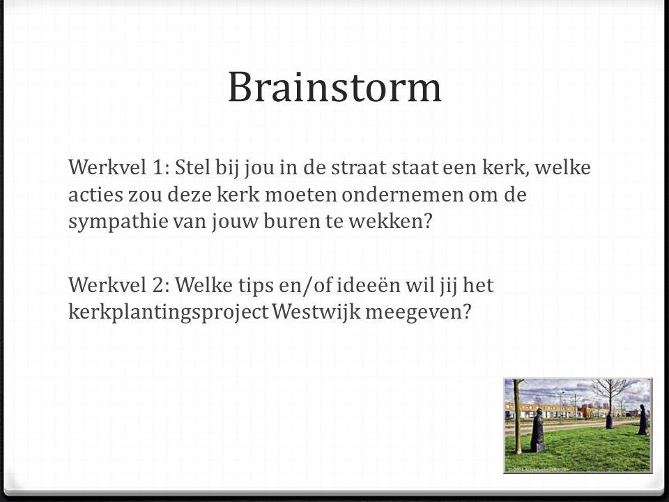 Brainstorm Werkvel 1: Stel bij jou in de straat staat een kerk, welke acties zou deze kerk moeten ondernemen om de sympathie van jouw buren te wekken.