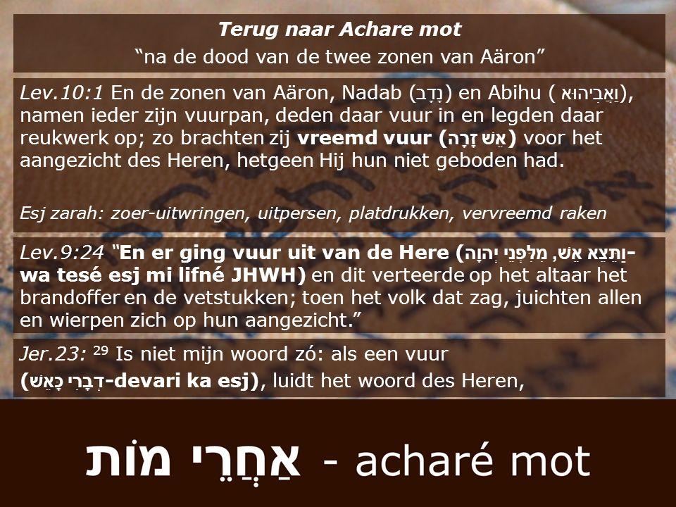 """Terug naar Achare mot """"na de dood van de twee zonen van Aäron"""" Lev.10:1 En de zonen van Aäron, Nadab ( נָדָב ) en Abihu ( וַאֲבִיהוּא ), namen ieder z"""