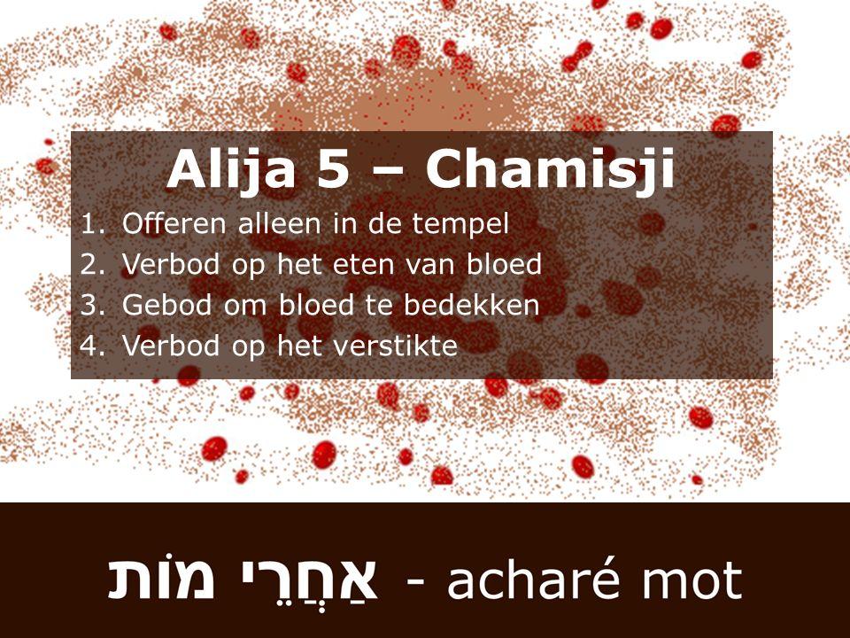Alija 5 – Chamisji 1.Offeren alleen in de tempel 2.Verbod op het eten van bloed 3.Gebod om bloed te bedekken 4.Verbod op het verstikte