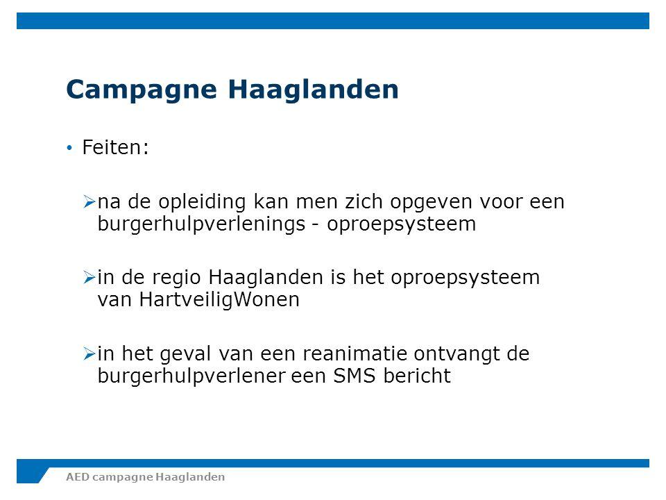 Campagne Haaglanden Feiten:  in Nederland hebben zich op dit moment ongeveer 80.000 burgers opgegeven voor een burgerhulpverlenings - oproepsysteem  dat betekent dat er minder dan een half procent van de totale bevolking geregistreerd is  Doel van de landelijke campagne is om dit percentage naar 1 procent te verhogen AED campagne Haaglanden