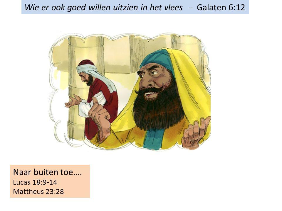 Wie er ook goed willen uitzien in het vlees - Galaten 6:12 Naar buiten toe….