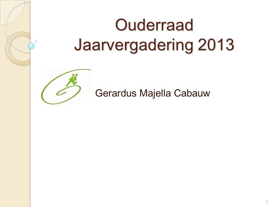 1 Ouderraad Jaarvergadering 2013 Gerardus Majella Cabauw