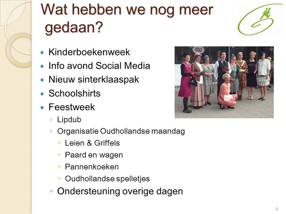 4 Wat hebben we nog meer gedaan? Kinderboekenweek Info avond Social Media Nieuw sinterklaaspak Schoolshirts Feestweek ◦ Lipdub ◦ Organisatie Oudhollan