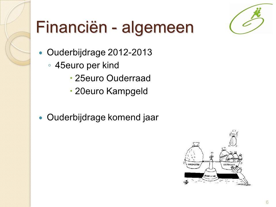 6 Financiën - algemeen Ouderbijdrage 2012-2013 ◦ 45euro per kind  25euro Ouderraad  20euro Kampgeld Ouderbijdrage komend jaar