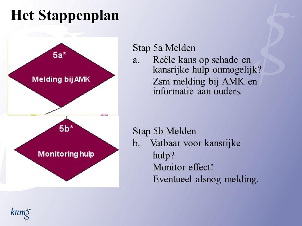 Het Stappenplan Stap 5a Melden a.Reële kans op schade en kansrijke hulp onmogelijk.