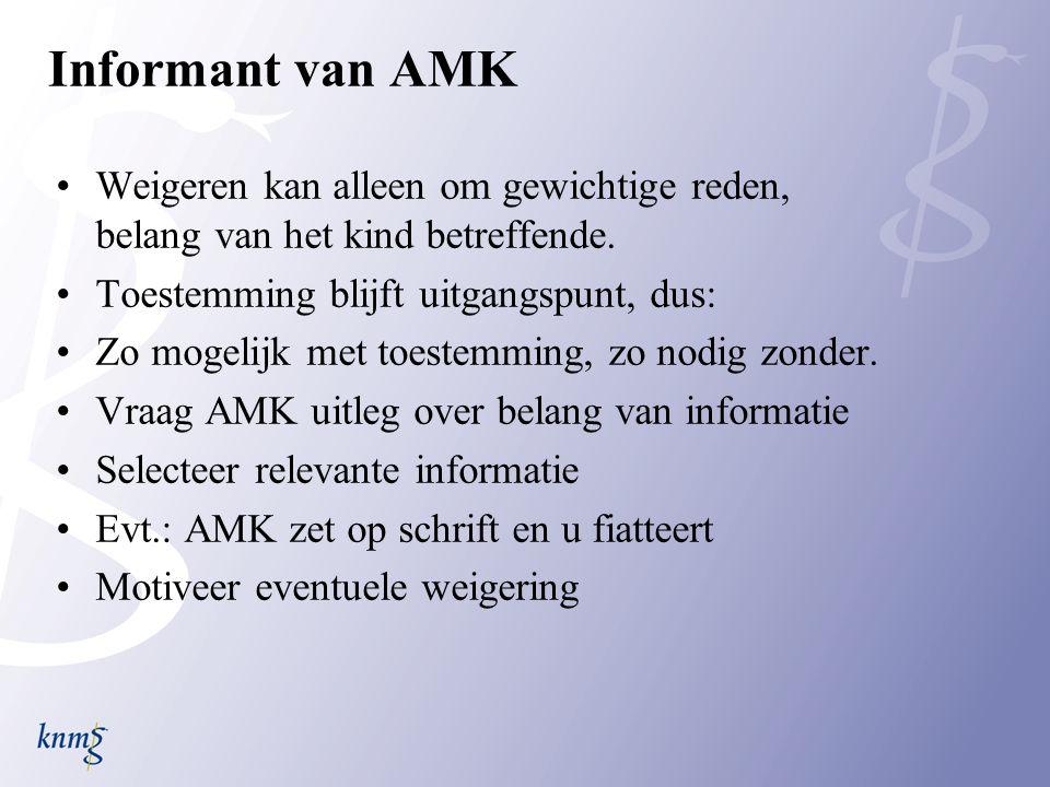 Informant van AMK Weigeren kan alleen om gewichtige reden, belang van het kind betreffende.
