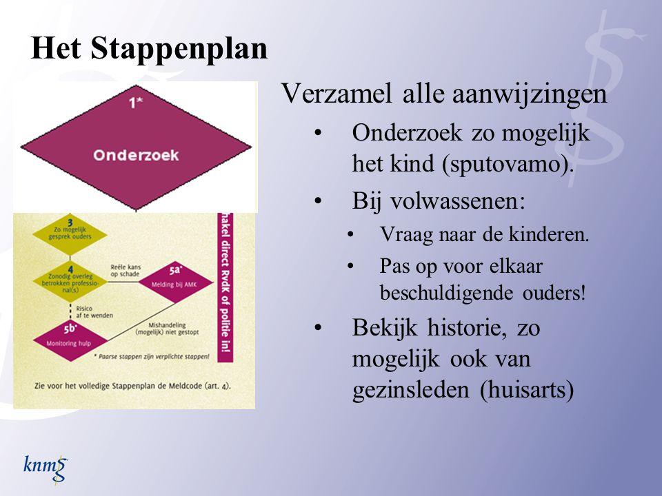 Het Stappenplan Verzamel alle aanwijzingen Onderzoek zo mogelijk het kind (sputovamo).