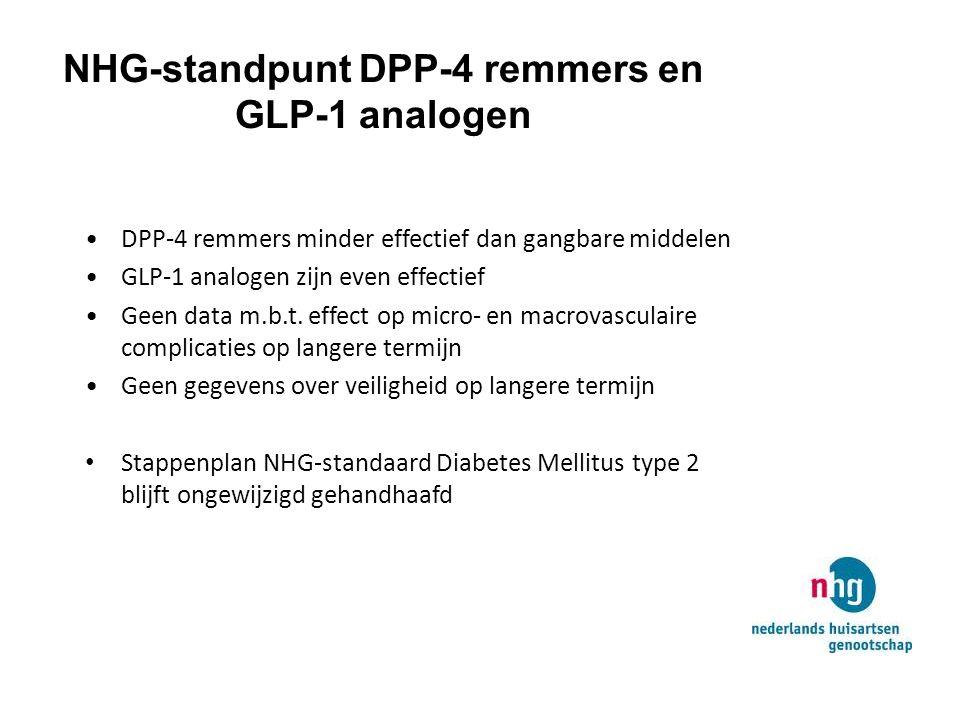 NHG-standpunt DPP-4 remmers en GLP-1 analogen DPP-4 remmers minder effectief dan gangbare middelen GLP-1 analogen zijn even effectief Geen data m.b.t.