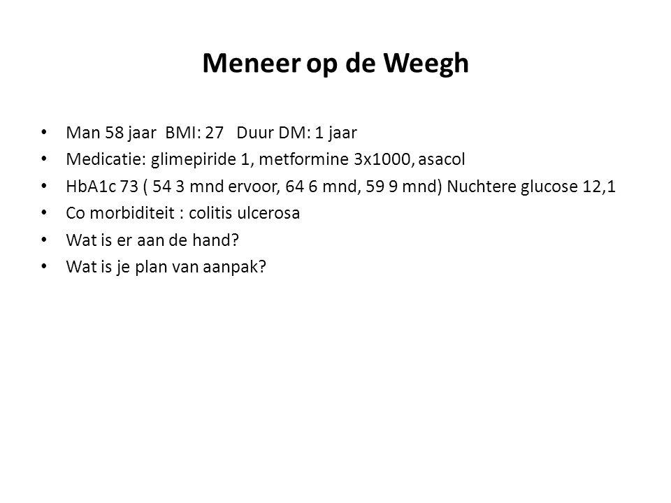 Meneer op de Weegh Man 58 jaar BMI: 27 Duur DM: 1 jaar Medicatie: glimepiride 1, metformine 3x1000, asacol HbA1c 73 ( 54 3 mnd ervoor, 64 6 mnd, 59 9