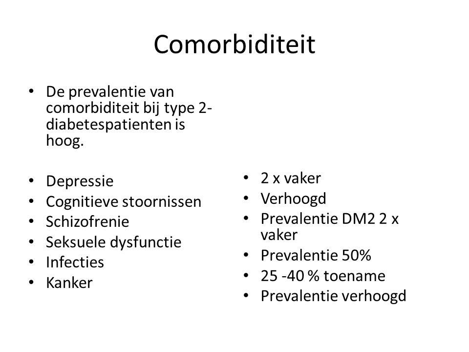 Comorbiditeit De prevalentie van comorbiditeit bij type 2- diabetespatienten is hoog. Depressie Cognitieve stoornissen Schizofrenie Seksuele dysfuncti