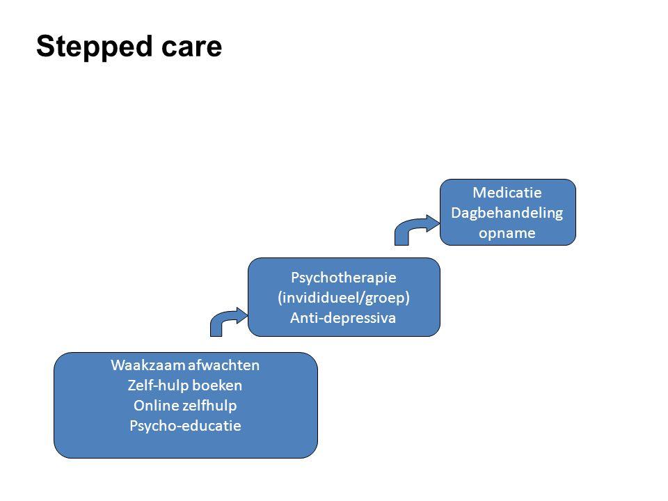 Waakzaam afwachten Zelf-hulp boeken Online zelfhulp Psycho-educatie Psychotherapie (invididueel/groep) Anti-depressiva Medicatie Dagbehandeling opname