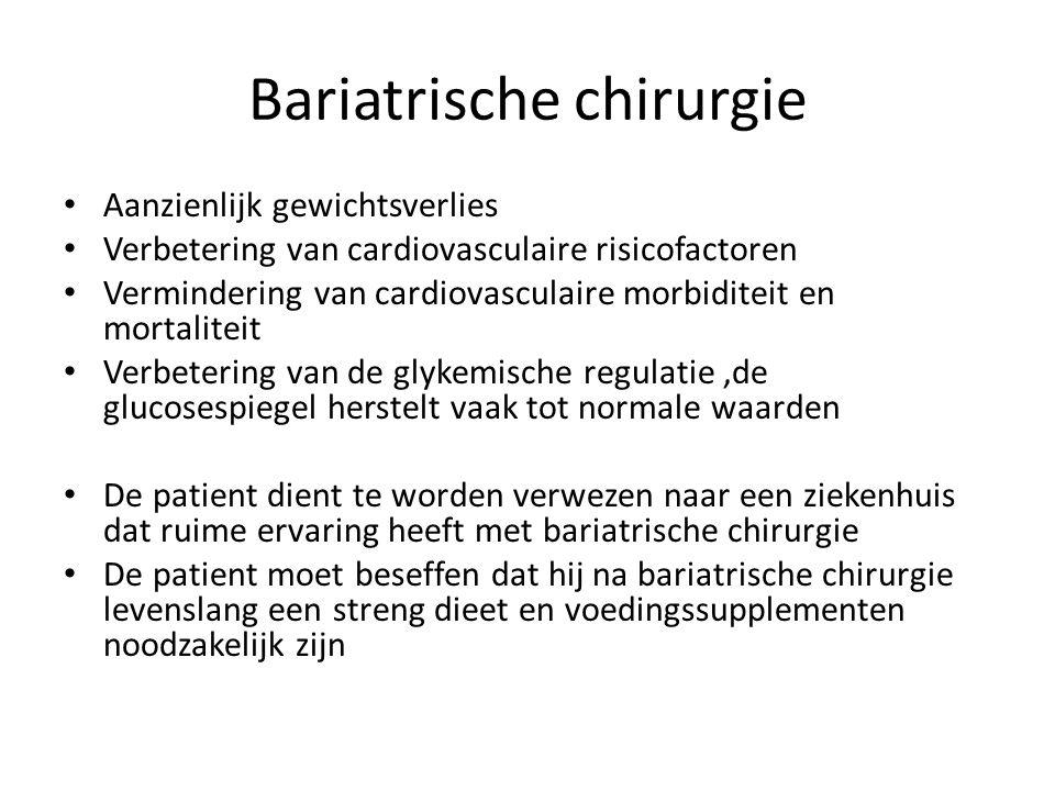 Bariatrische chirurgie Aanzienlijk gewichtsverlies Verbetering van cardiovasculaire risicofactoren Vermindering van cardiovasculaire morbiditeit en mo