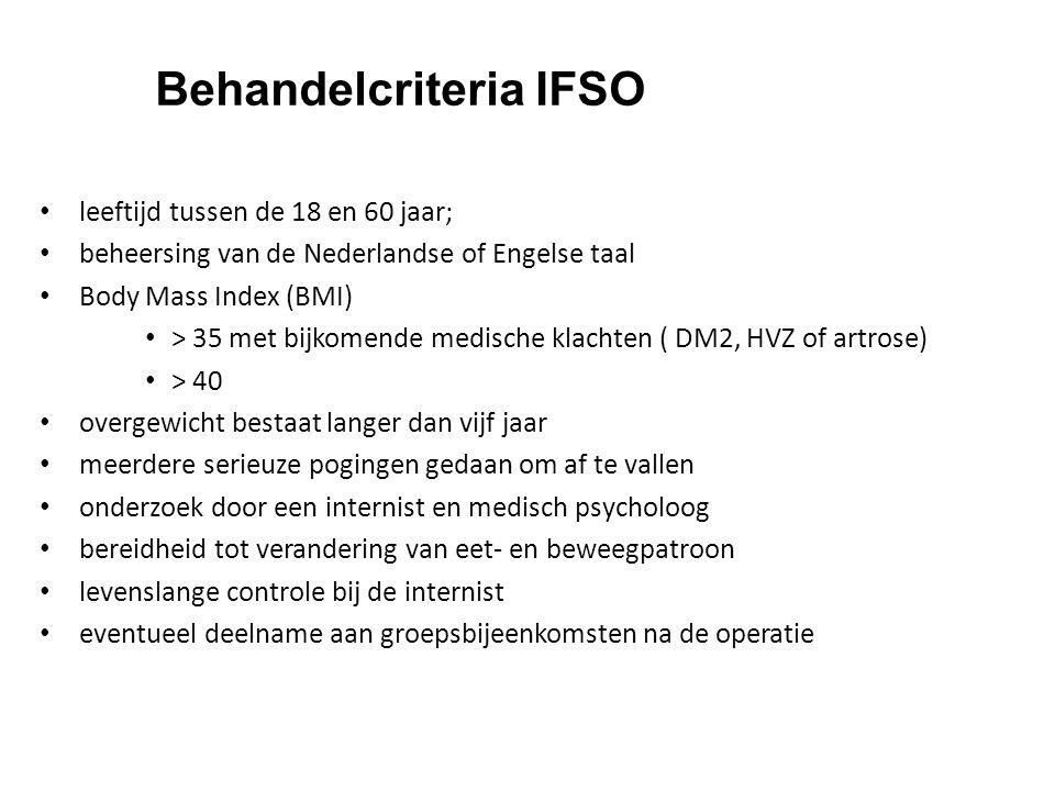 Behandelcriteria IFSO leeftijd tussen de 18 en 60 jaar; beheersing van de Nederlandse of Engelse taal Body Mass Index (BMI) > 35 met bijkomende medisc