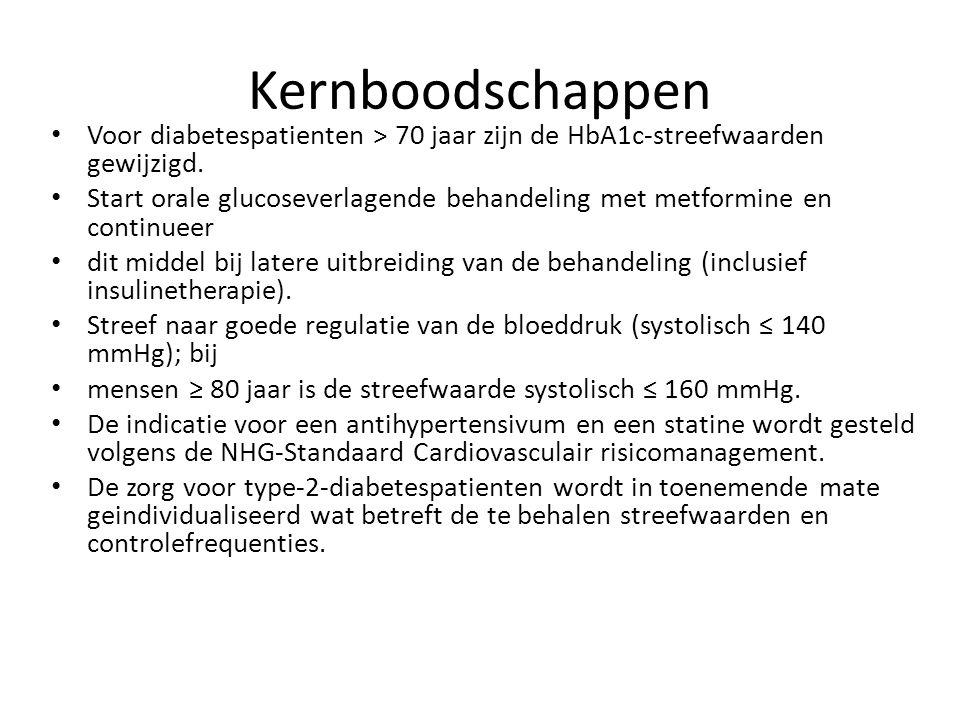 Kernboodschappen Voor diabetespatienten > 70 jaar zijn de HbA1c-streefwaarden gewijzigd. Start orale glucoseverlagende behandeling met metformine en c