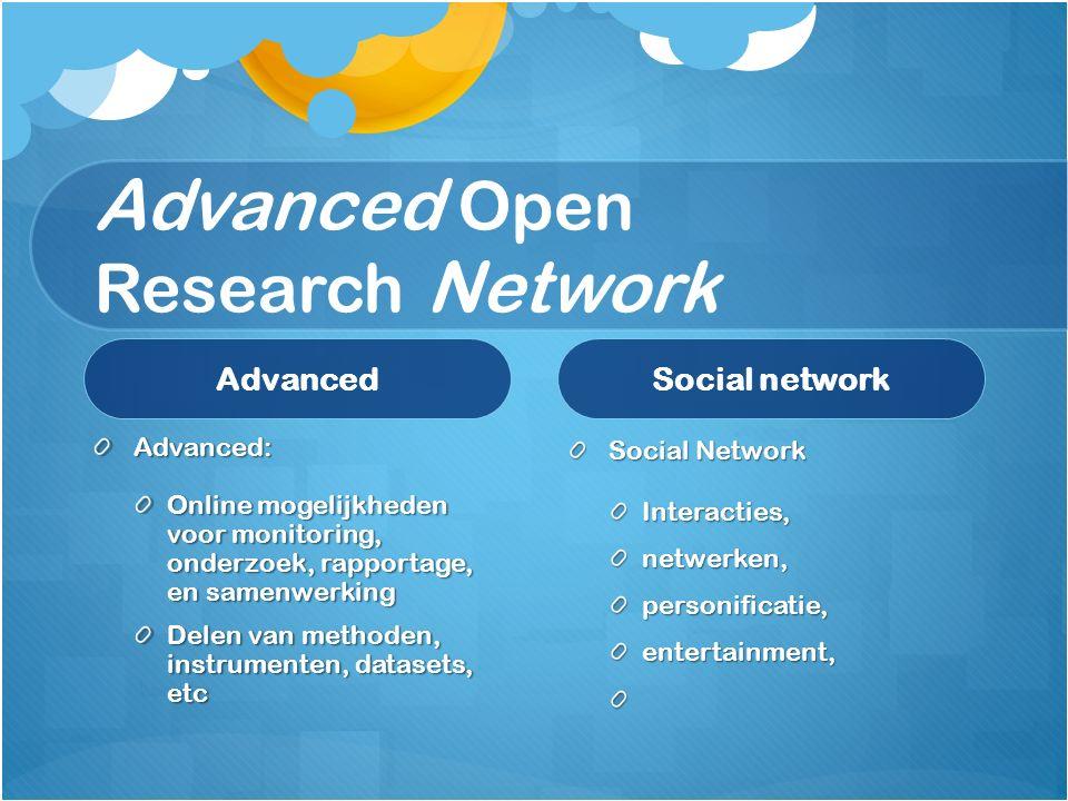 Advanced Open Research Network Advanced Advanced: Online mogelijkheden voor monitoring, onderzoek, rapportage, en samenwerking Delen van methoden, instrumenten, datasets, etc Social network Social Network Interacties, netwerken, personificatie, entertainment,